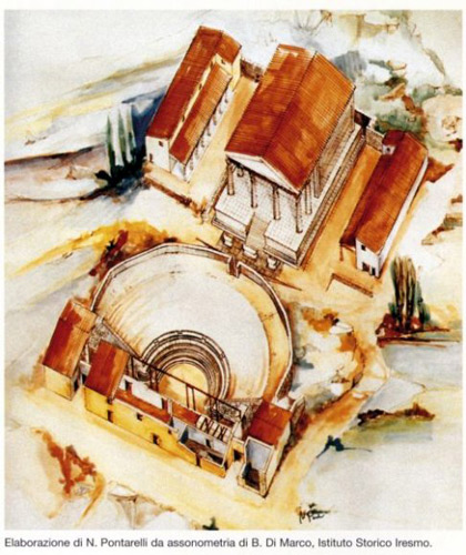 teatro-tempio-disegno-ricostruttivo-Pietrabbondante-Molise